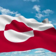 Greenland flag waving against time-lapse clouds background — Stock Video