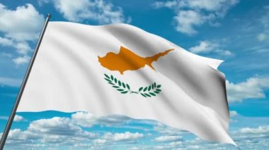 Cyprus flag waving against time-lapse clouds background — Stock Video