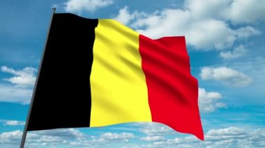 Belgium flag waving against time-lapse clouds background — Stock Video