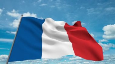 France flag waving against time-lapse clouds background — Stock Video