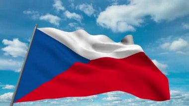 Czech flag waving against time-lapse clouds background — Stock Video