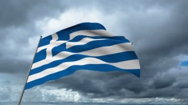 Greece flag waving against time-lapse clouds background — Stock Video