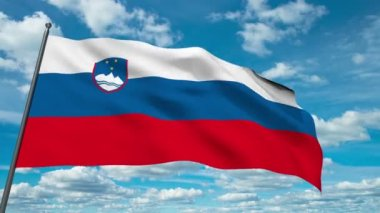 Slovenian flag waving against time-lapse clouds background — Stock Video