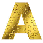 Puzzle letter A in gold metal on a white isolated background — Stock Photo