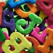 Plasticine alphabet texture background — Stock Photo