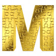 Royalty-Free Stock Photo: Puzzle letter M in gold metal on a white isolated background.