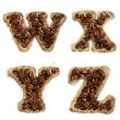 Alphabet from coffee beans on fabric texture isolated on white - Stock Photo