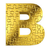 Puzzle letter B in gold metal on a white isolated background — Stock Photo