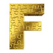 Brief f in goud metaal op een witte achtergrond geïsoleerde puzzel — Stockfoto