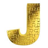 Puzzle letra j en metal oro sobre un fondo blanco aislado — Foto de Stock