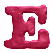 Plasticine red letter E isolated on a white background — Stock Photo