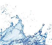 Blue water splash isolated on white background — Stock Photo