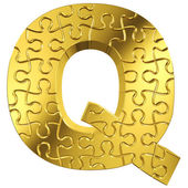 Puzzle letter Q in gold metal on a white isolated background — Stock Photo