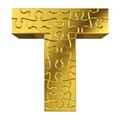 Puzzle letter T in gold metal on a white isolated background — Stock Photo