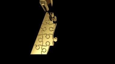 Puzzle letter in gold metal — Stock Video #22980100