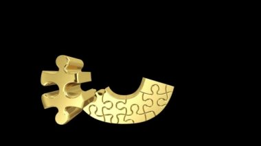 Puzzle letter in gold metal — Stock Video #22980352