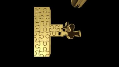 Puzzle letter in gold metal