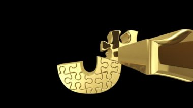 Puzzle letter in gold metal — Stock Video #22981024