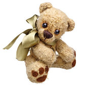 Teddy bear in classic vintage style isolated on white background — Stock Photo