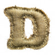Linen vintage cloth D letter isolated on white — Stock Photo