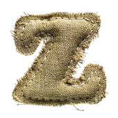Linen vintage cloth letter z isolated on white — ストック写真