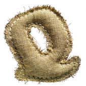 Linen vintage cloth Q letter isolated on white — Stock Photo