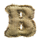 Linen vintage cloth B letter isolated on white — Stock Photo
