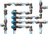 Laberinto de tuberías y accesorios, concepto de sistema de abastecimiento de agua, es — Foto de Stock
