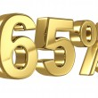 65 Discount digits in gold metal, sixty five percent off golden sign — Stock Photo #34119547