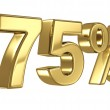 75 Discount digits in gold metal, seventy five percent off golden sign — Stock Photo #34119549