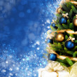 Magically decorated Christmas Tree with balls, ribbons and garlands — Stockfoto