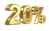 20 Discount digits in gold metal, twenty percent off golden sign — Stock Photo
