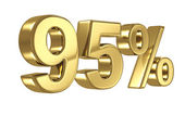 95 Discount digits in gold metal, ninety five percent off golden sign — Stock Photo