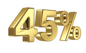 45 Discount digits in gold metal, forty five percent off golden sign — 图库照片