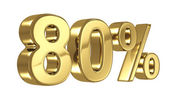80 Discount digits in gold metal, eighty percent percent off golden sign — Stock Photo