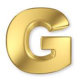 G lettera dall'alfabeto solido oro — Foto Stock