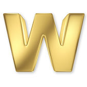 Letter W from gold solid alphabet — Stock Photo