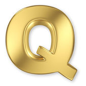 Letter Q from gold solid alphabet — Stock Photo