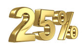 25 Discount digits in gold metal, twenty five percent off golden sign — Stock Photo