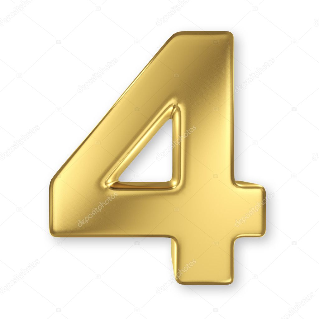 3d Golden Number Collection 4 Stock Photo Smaglov