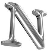 Metal Letter N from chrome solid alphabet. — Foto de Stock