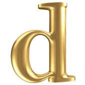 Golden matt lowercase letter d, jewellery font collection — Stock Photo