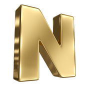Letter N from gold solid alphabet — Stock Photo