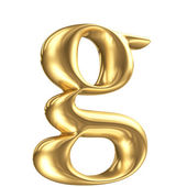 Golden matt lowercase letter c in perspective, jewellery font collection — Stock Photo