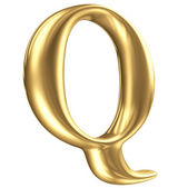 Golden matt letter Q in perspective, jewellery font collection — Stock Photo