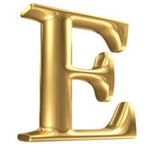 Golden matt letter E in perspective, jewellery font collection — Stock Photo