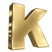 Letter K from gold solid alphabet — Stock Photo