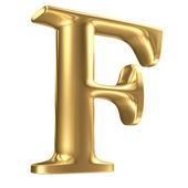 Golden matt letter F in perspective, jewellery font collection — Stock Photo
