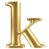 Golden matt lowercase letter k, jewellery font collection — Foto de Stock