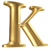 Golden matt letter K in perspective, jewellery font collection — Stock Photo